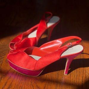 Pink&Orange satin heels
